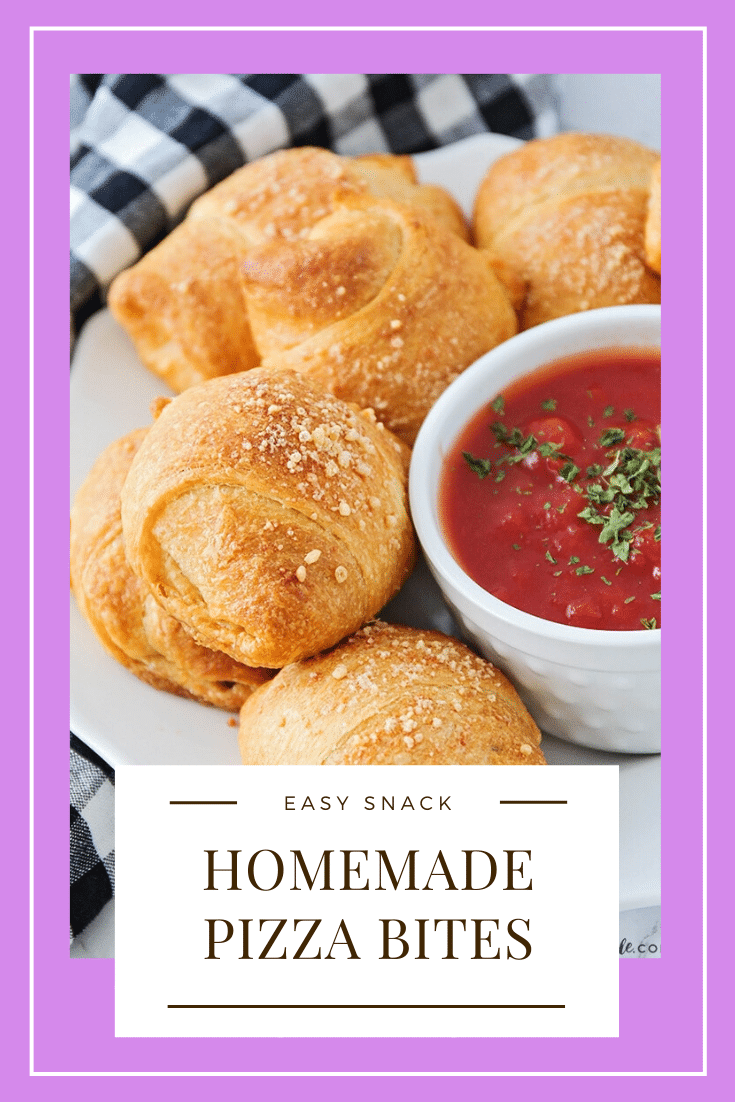 These mini homemade pizza bites are a simple meal or snack that can feed a small family or a large crowd!  Filled with cheese, pepperoni or any of your other favorite pizza toppings, this easy recipe will make everyone happy.  #pizza #pizzabites #howtomakehomemadepizzabites #minipizzabites #homemadepizzabites via @somewhatsimple