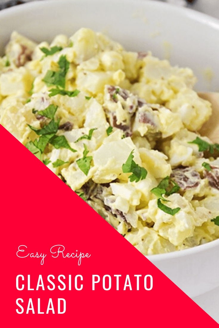 This easy potato salad recipe is a family-favorite side dish that's perfect for any occasion.  Made with red potatoes and hard boiled eggs, it's the best potato salad you'll ever eat. #easypotatosalad #potatosaladrecipe #potatosaladwithegg #howtomakepotatosalad #bestpotatosaladrecipe via @somewhatsimple