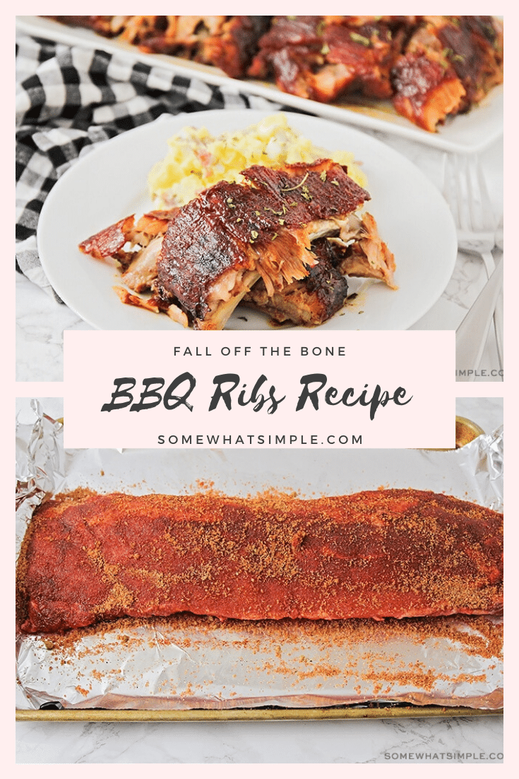 This easy recipe will show you how to cook ribs in the oven so they just fall off the bone! Following just a few easy steps, you can go from being a novice cook to a grill master in no time. Made with a homemade spice rub, these bbq ribs are cooked for hours so the meat is tender and juicy! #howtocookribs #fallofftheboneribs #ribsintheoven #howtocookribsintheoven #easyporkribsrecipe via @somewhatsimple