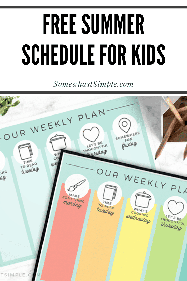 Entertaining kids while they're home during the summer can sometimes be challenging.  That's why I came up with this fun, free daily summer schedule printable for kids to give us something enjoyable we can do together each day! #summerschedule #summerscheduleforkids #dailysummerscheduleforkids #kidssummerscheduletemplate #dailysummerscheduleprintable via @somewhatsimple