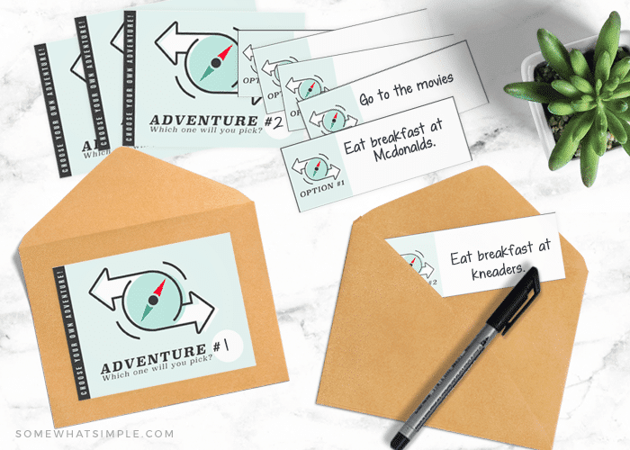 two envelopes with adventure ideas that could be options for your choose your own adventure day