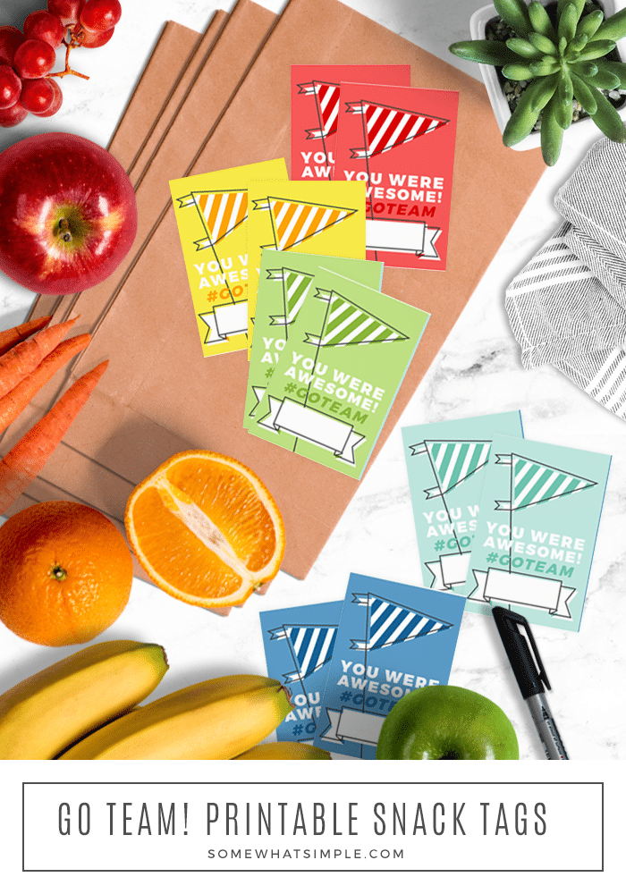 looking down on a these printable tags that can be used for a cute snack bag idea for your child's team.