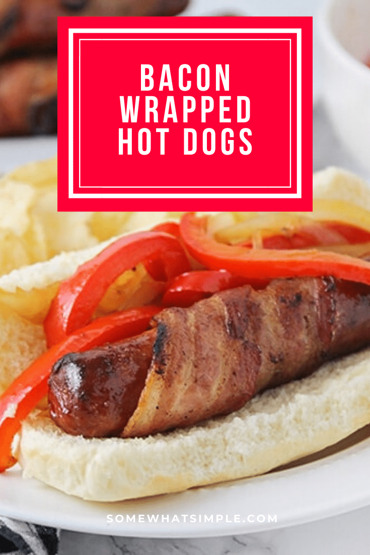 These bacon wrapped hot dogs have a wow-factor that regular hot dogs just don't have. They are simple to put together and totally delicious! These are simple to make and are perfect for a summer gathering or bbq. With 3 different ways to make them, there's something for everyone. #grillingrecipe #summerrecipe #bbqideas #baconwrappedhotdogs #grilledbaconwrappedhotdogs #baconwrappedhotdogsinoven #baconwrappedhotdogsonstovetop #howtomakebaconwrappedhotdogs via @somewhatsimple