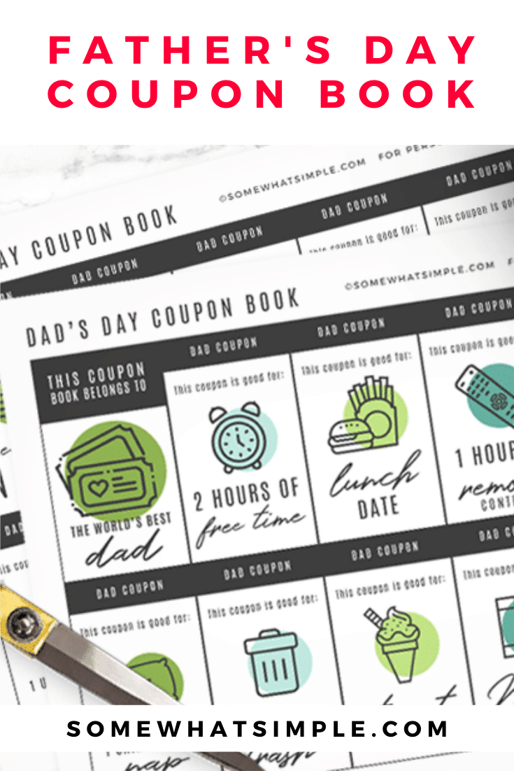 Making a printable coupon book for dad is fun, thoughtful, and so simple to put together! The perfect gift for the guy you love this Father's Day! Grab your free printable and get started on this fun and thoughtful gift for Dad. #FathersDay #PrintableCouponBook #fathersdaycouponbook #GiftforDad #fathersdaygift via @somewhatsimple