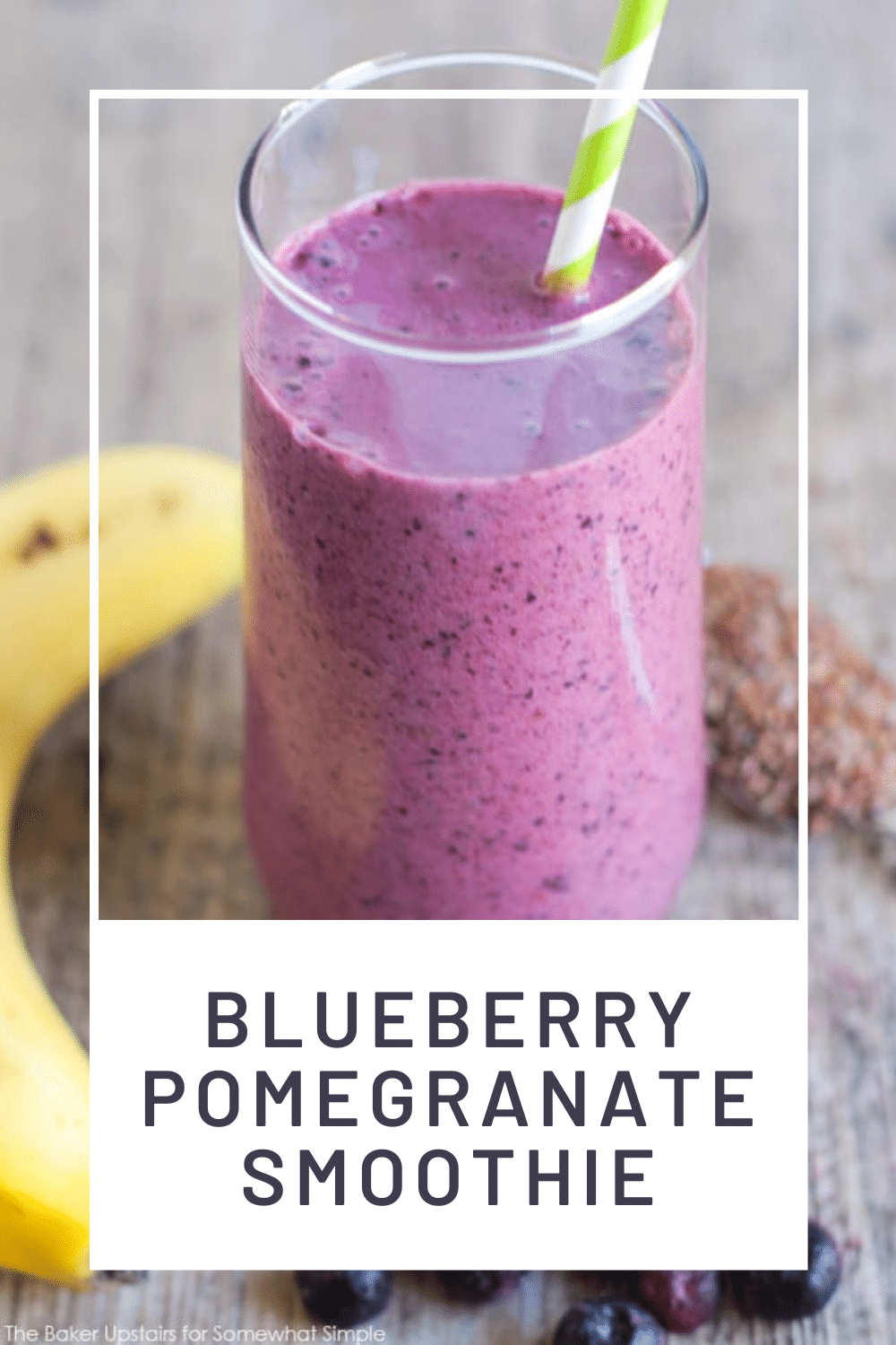 Smoothies are an easy and healthy idea for breakfast or a snack. Filled with fresh fruit and other simple ingredients, this blueberry pomegranate smoothie recipe is a delicious way to get your vitamins. via @somewhatsimple