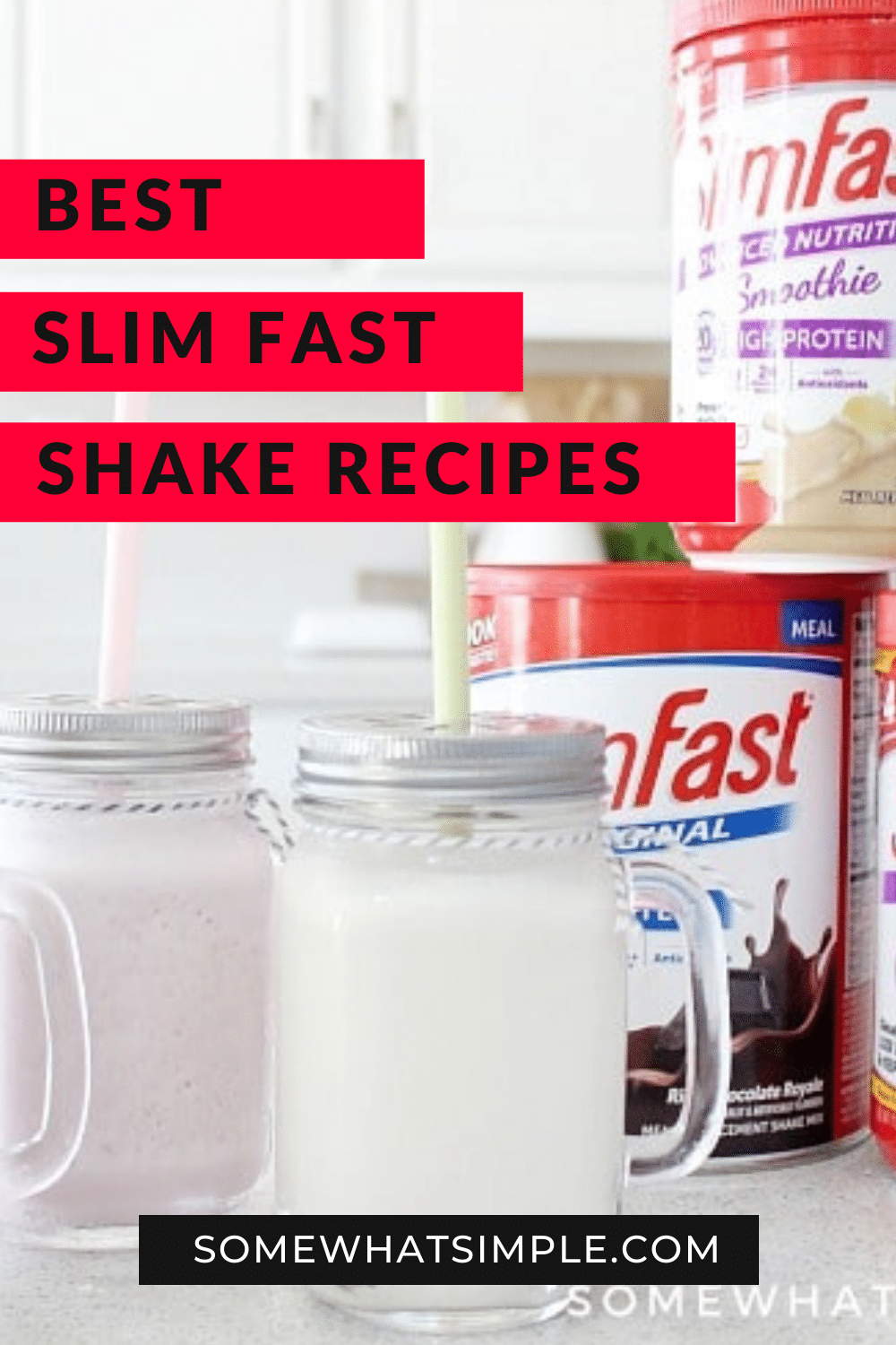 Slim Fast Shakes and smoothies are the best way to start your morning. This delicious recipe will make this healthy and convenient breakfast even better! These are ready in just minutes, so your morning routine is about to get a whole lot better! via @somewhatsimple