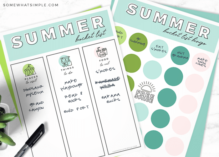 pages from this printable file that have ideas to do for your summer bucket list