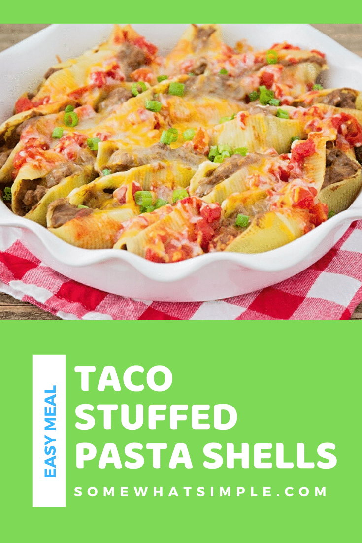 I found this recipe for Taco-Stuffed Pasta Shells in a magazine when I was newly married and it is still one of my family's favorite dinners! These pasta shells are filled with all of the delicious ingredients for tacos. This dinner idea also makes a perfect freezer meal so you can make it ahead of time and save it for later. #tacostuffedshells #tacostuffedpastashells #stuffedshellsrecipe #freezermeal #mexicandinneridea via @somewhatsimple