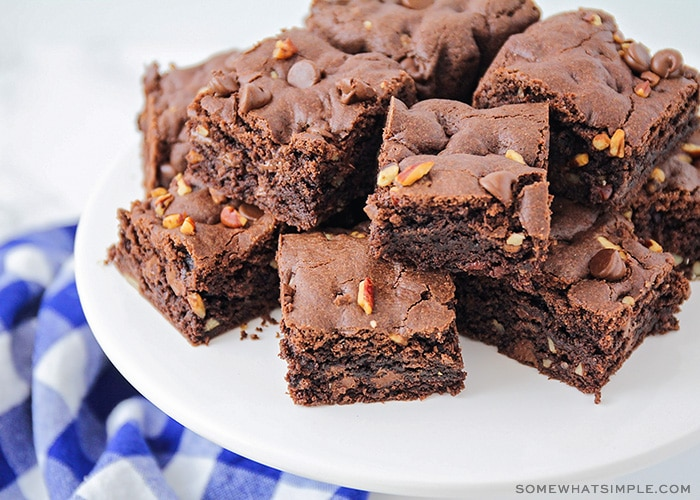 These rich and fudgy cake mix brownies are so chocolatey and delicious! They only take five minutes of prep time, and taste amazing!