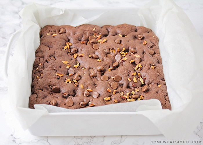 a baking dish with brownies fresh from the oven