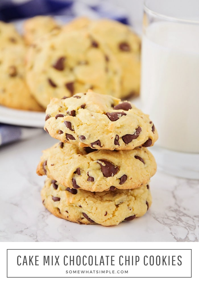 These cake mix chocolate chip cookies are the easiest cookies ever! They're soft and tender, and loaded with chocolate chips! #cakemixchocolatechipcookies #cakemixcookierecipe #yellowcakemixchocolatechipcookies #easycakemixchocolatechipcookies #howtomakecookiesfromcakemix via @somewhatsimple
