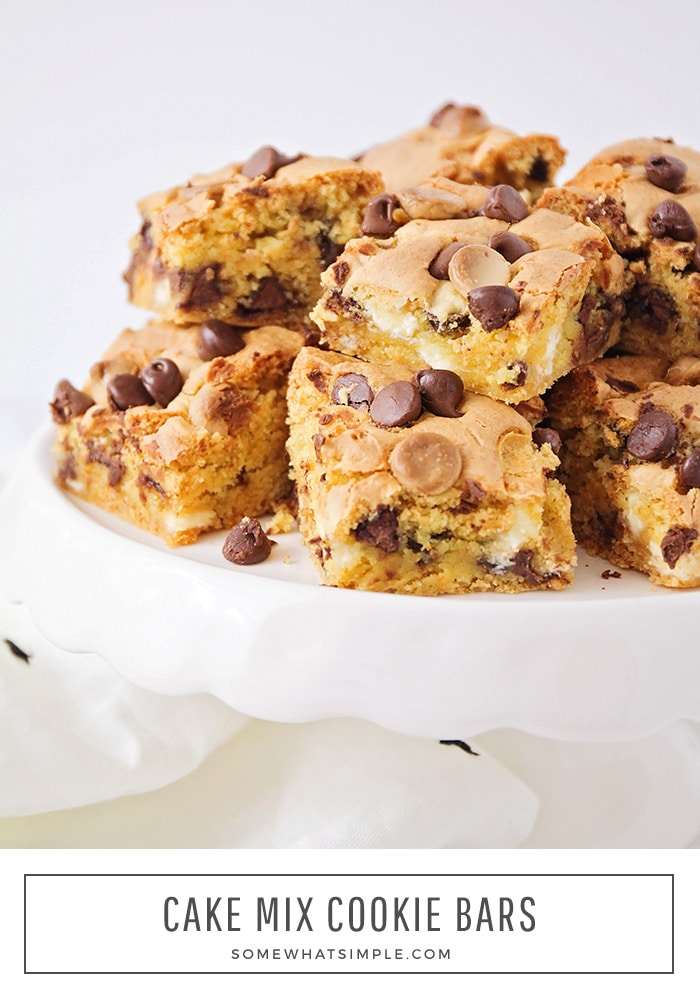 a close up of chocolate chip cookie bar squares made from cake mix