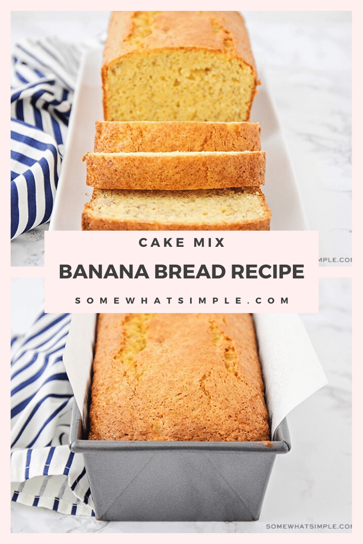 This simple and tasty cake mix banana bread has just four ingredients, and is so delicious. It's the easiest banana bread you'll ever bake! This short cut method will have you enjoying your banana bread in no time! #cakemixbananabread #bananabreadmadewithcakemix #cakemixbananabreadrecipe #easy4ingredientcakemixbananabread #yellowcakemixbananabread #bananabread #easybreadrecipe via @somewhatsimple