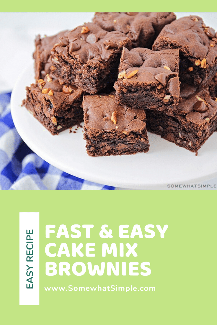 These rich and fudgy cake mix brownies are so chocolatey and delicious! They only take five minutes of prep time, and they taste amazing! #cakemixbrownies #3ingredientcakemixbrownies #howtomakebrowniesfromcakemix #chocolatecakemixbrownies #cakemixbrowniesrecipe via @somewhatsimple