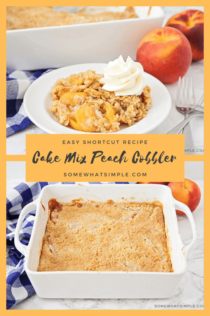 This cake mix peach cobbler recipe is a quick and easy way to enjoy a classic dessert.  Made using fresh peaches in about 5 minutes, you can enjoy a serving any time you want! #peachcobbler #cakemixpeachcobbler #howtomakepeachcobblerwithcakemix #peachcobblerwithcakemixrecipe #cakemixpeachcobblerfreshpeaches via @somewhatsimple