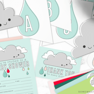 baby shower invitations, thank you notes and other decorations that are included in this baby shower printable pack