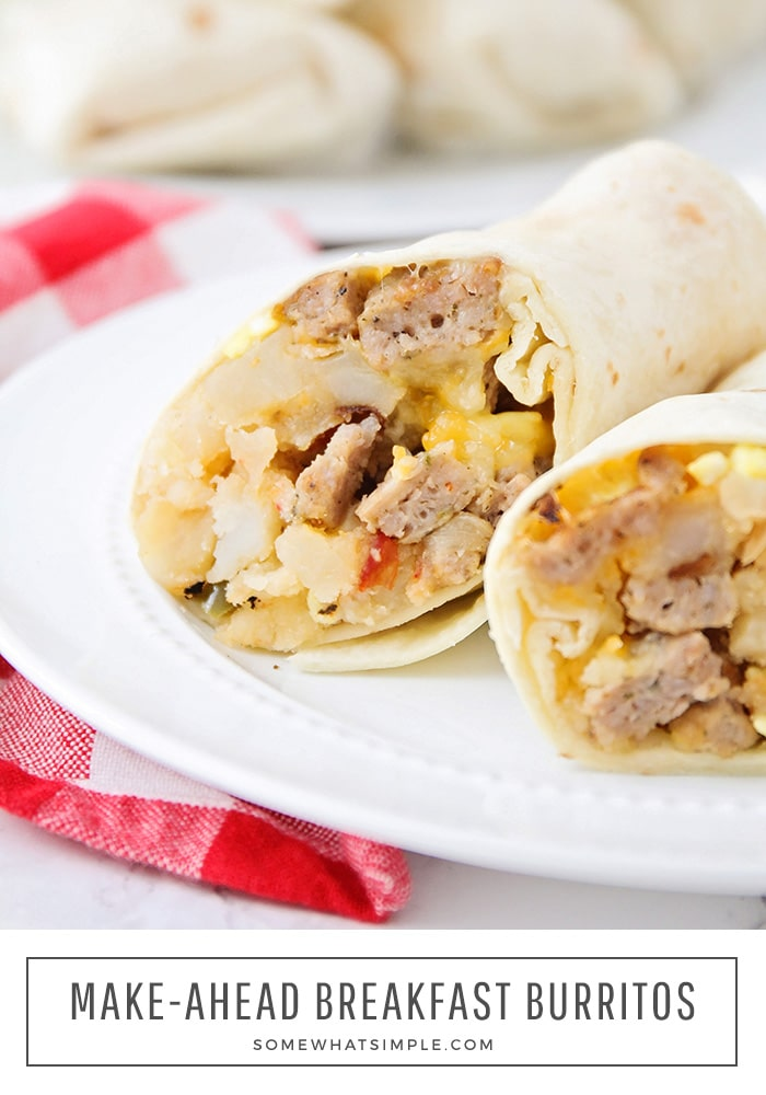 a close up of a breakfast burrito on a plate