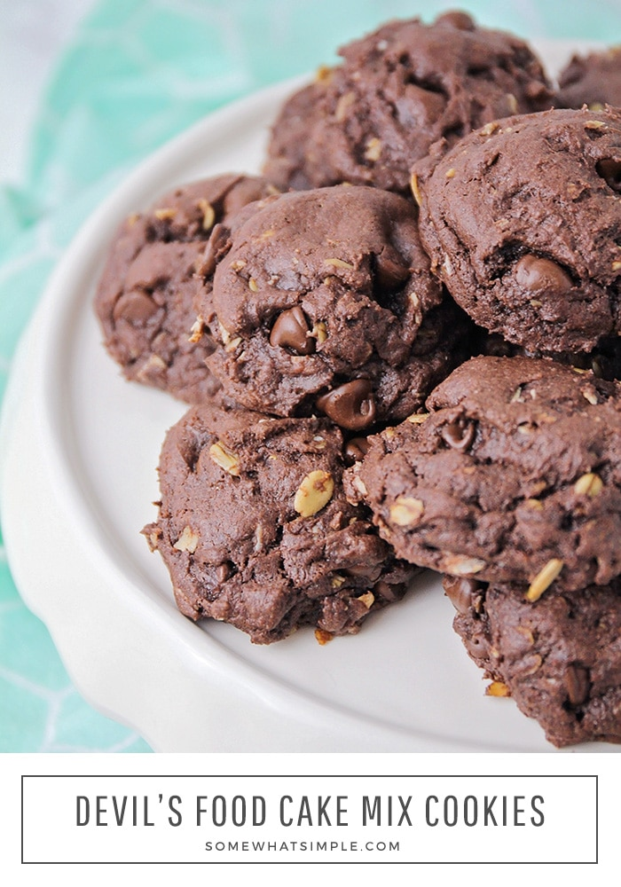 a pile of chocolate fudge cookies make with a box of devil's food cake mix