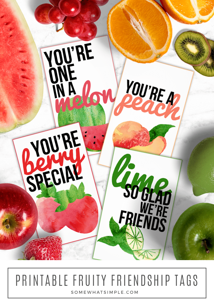 These fruit pun friendship gift tags are a fun way to spread kindness to a neighbor or friend! via @somewhatsimple