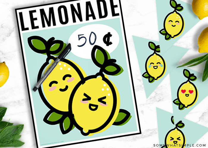 a lemonade stand sign that feature two small lemons with faces and a place where you can write in the cost per cup of lemonade