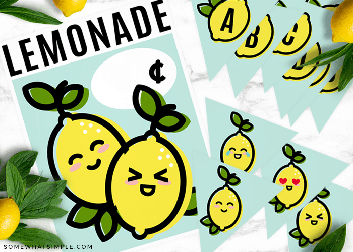 these cute lemonade stand sign and banner free printables layed out on a counter
