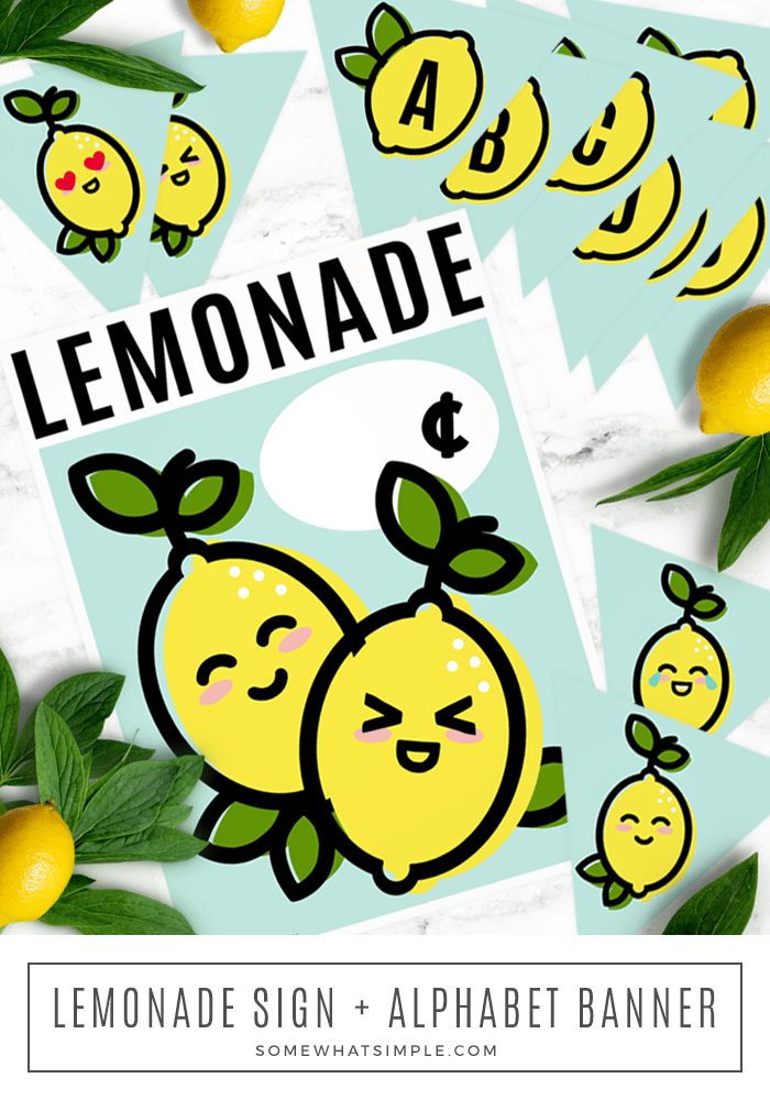 Set up the cutest lemonade stand in the neighborhood with our darling pack of free printables!  The printable pack includes both a lemonade stand sign displaying the price as well as a banner to hang from your stand. #lemonadestandfreeprintable #cutelemonadestandsign #lemonadestandsignforkids #lemonadestandsignprintable #lemonadestandbannerfreeprintable via @somewhatsimple