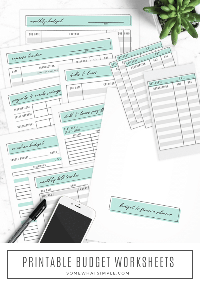 Track your spending, pay your bills, and grow your savings with ourprintable budget planner! 8savvy spreadsheets to get your finances organized and back on track! #budget #printable #savings #finances #help #expensetracker via @somewhatsimple