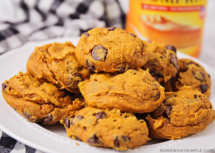 a close up of a stack of pumpkin chocolate chip cookies on a white plate