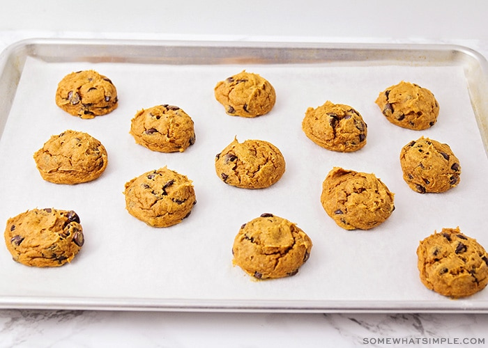 a batch of pumpkin cookies made with cake mix and chocolate chips on a baking sheet fresh from the oven