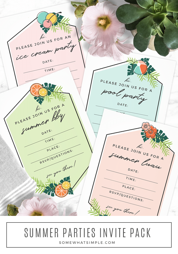Download our FREE Summer Party Invitations and get ready for an amazing summer full of ice cream parties, BBQs, luaus, and gatherings at the pool! #summerpartyinvitations #summerpartyinvitationtemplate #summerpartyinvitationfreeprintable #poolpartyinvitationfreeprintable #freeprintablesummerbbqinvitation via @somewhatsimple