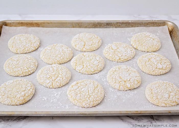 freshly baked white cake mix cookies