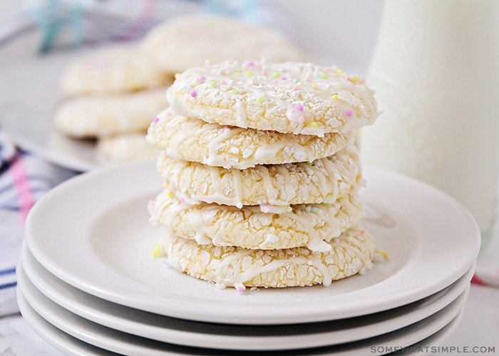 a stack of cookies topped with a sugar glaze