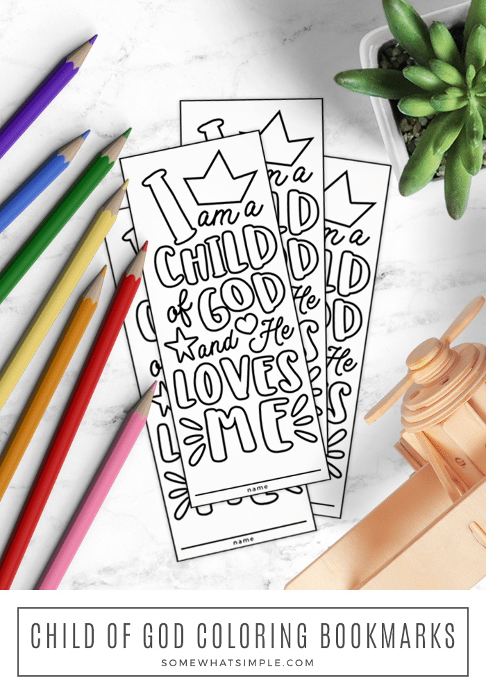 Free printable bookmark for kids to color that says I am a child of God and He loves me