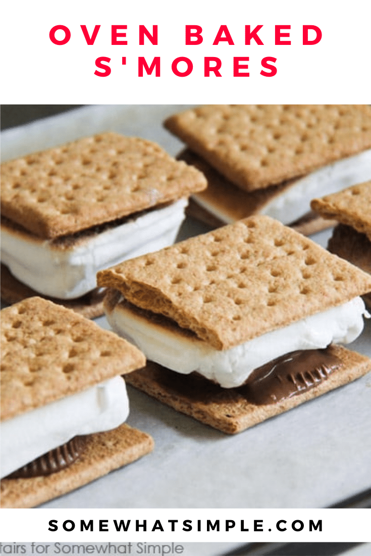 No fire pit? No problem! Indoor S'Mores make the perfect little snack, or they can be made by the dozens to serve at your next celebration! These indoor s'mores are easily made in your oven and are ready to enjoy in just minutes. There's nothing better than this classic chocolate and marshmallow dessert recipe. via @somewhatsimple