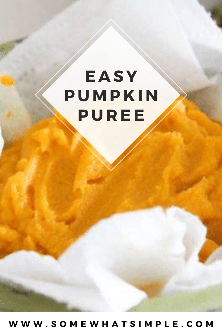 This easy recipe for homemade pumpkin puree is so easy, you'll never want to go back to the store bought version again! This delicious puree can be used in so many delicious fall recipes you'll want to always have some on hand. #pumpkinpuree #pumpkinpureerecipe #easyhomemadepumpkinpuree #howtomakepumpkinpuree #healthypumpkinpuree via @somewhatsimple