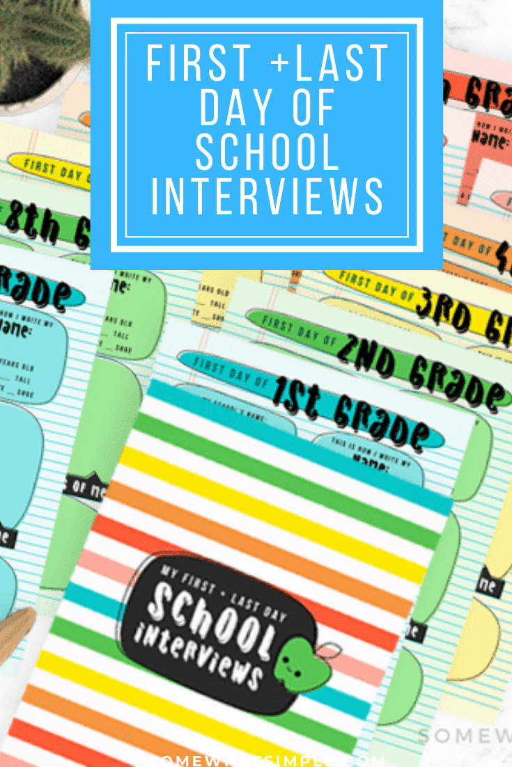 This first + last day of school interviews printable pack is an amazing keepsake for your kid's school years! Don't miss out on these precious memories and preserve them today! Grab yours now, just in time for the first (or last) day of school! #firstdayofschoolinterviewprintable #firstdayofschoolinterviewquestions #lastdayofschoolinterviewprintable #lastdayofschoolinterviewquestions #kindergarteninterviewquestions via @somewhatsimple