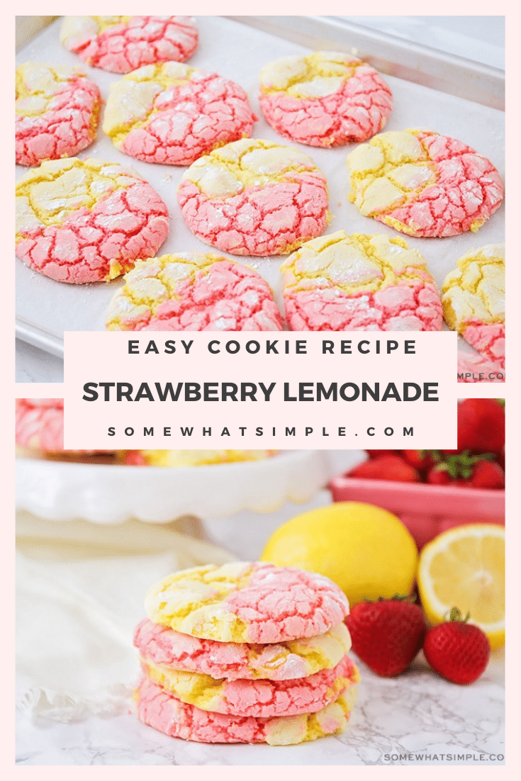 These strawberry lemonade cookies that are drizzled in a delicious icing, are the perfect combination of sweet and sour. Made using cake mix, these cookies are fast and easy to make! #strawberrylemonadecookies #pinklemonadecookies #strawberrylemonadacakemixcookies #strawberrylemonadecookierecipe #easystrawberrylemonadecookies via @somewhatsimple
