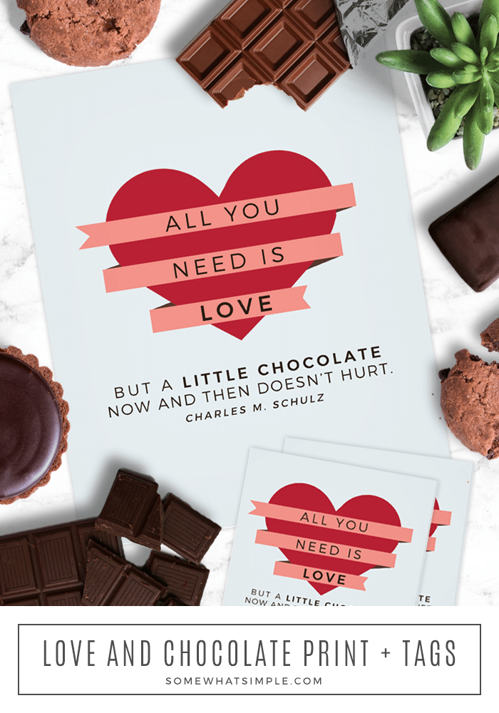 Our free chocolate gift tag is a great way to celebrate a special neighbor, teacher or friend! It's a quick, inexpensive gift idea, perfect for all the chocolate lovers! #chocolate #gift #easy #simple #printable #free #gifttag via @somewhatsimple