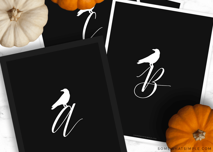 crow monograms with the letters A, B and C on black paper