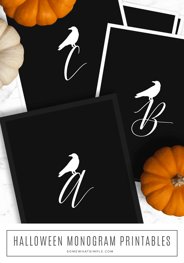 looking down on black sheets of paper with a crow monogram