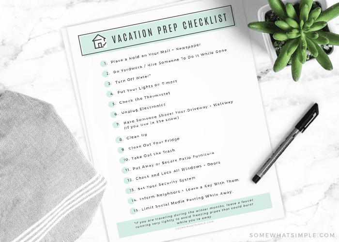 a printable checklist for preparing your house for vacation
