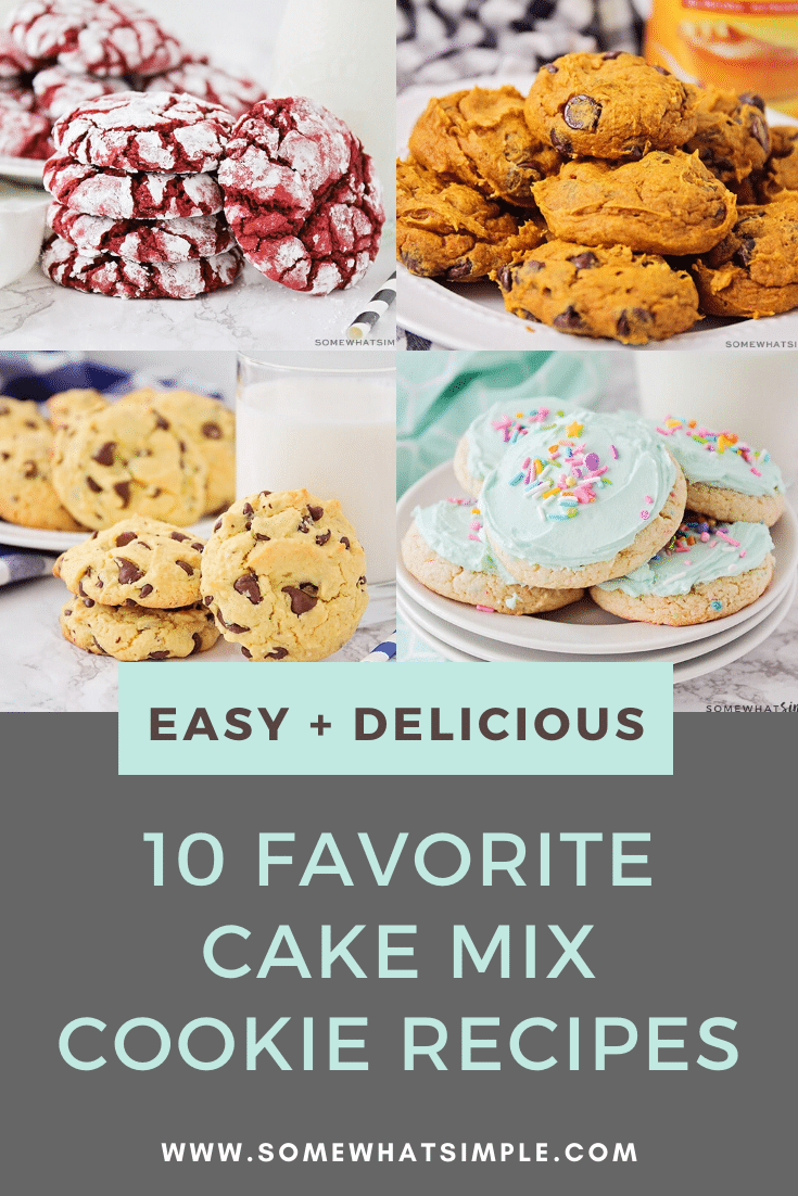 Cake mix cookies are soft, delicious and so easy to make! Made with only 3 ingredients, these cake cookies are easy to customize using your favorite cake flavor and special mix-in's. We'll show you 10 of our favorite recipes! #cakemixcookierecipes #chocolatecakemixcookies #lemoncakemixcookies #strawberycakemixcookies #whitecakemixcookierecipe #redvelvetcakemixcookies via @somewhatsimple