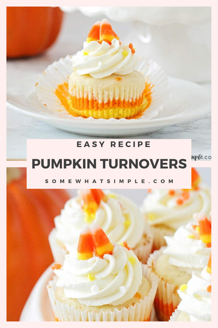 Candy corn cupcakes are a delicious treat that are adorably festive and super easy to make!  Those yellow, orange and white colors just scream Fall! The cupcakes are perfect to serve at a Halloween party or any fall event. via @somewhatsimple