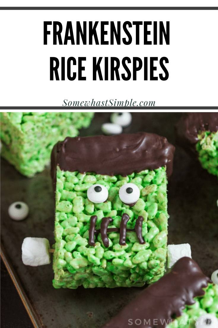 Frankenstein Rice Krispie Treats make a fun, kid friendly dessert that's perfect to make during the Halloween season! They are perfect to snack on after school or at your Halloween party. Not only are they a lot of fun to make but they taste amazing! via @somewhatsimple