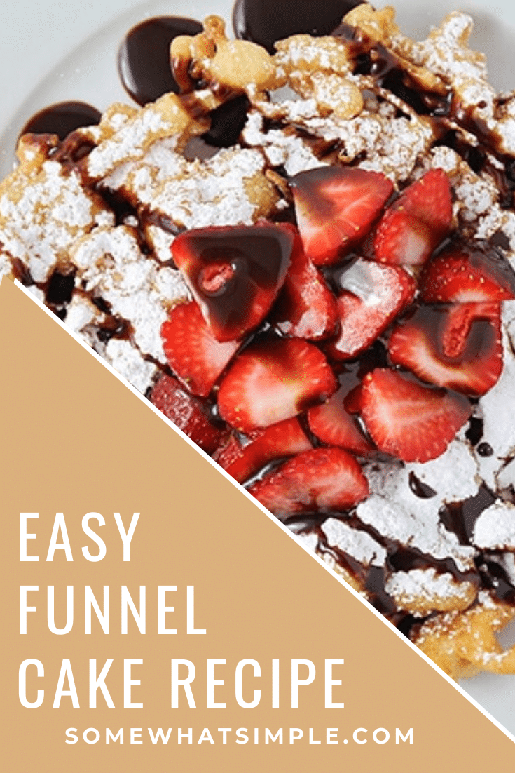 These simple homemade funnel cakes are so easy to make! Dust them with powdered sugar, or pile them high with delicious toppings! Now you can enjoy your favorite theme park treat from the comfort of your own home! #funnelcakes #funnelcakerecipe #easyfunnelcakerecipe #howtomakefunnelcakes #homemadefunnelcakesrecipe via @somewhatsimple