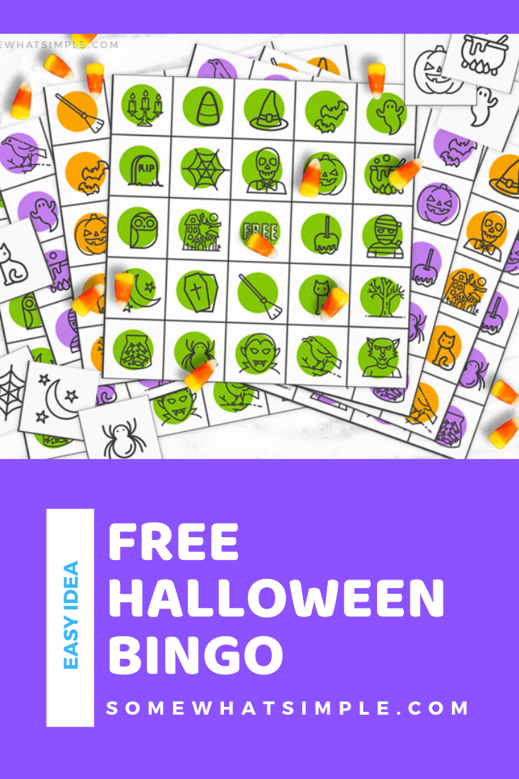 Halloween Bingo Printables are colorful, fun and perfect for all ages! 10 different cards to play with - just download, print, and have fun! These printable game cards are free to download and are such a fun game to play. #halloweenbingo #halloweenbingofreeprintable #halloweenbingoprintable #halloweenbingocards #freehalloweenbingocards via @somewhatsimple