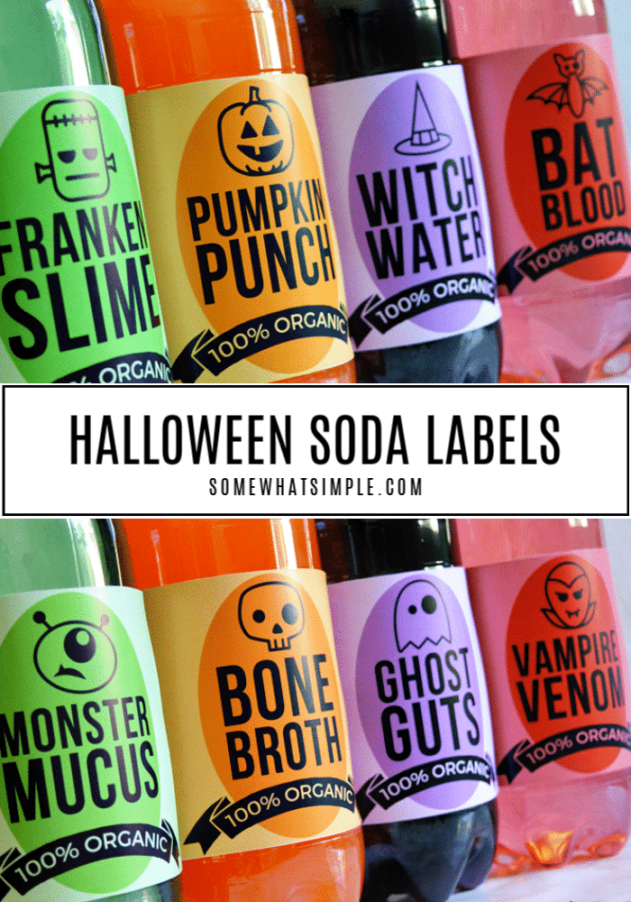 These Halloween soda labels are a simple way to add some fun and a festive touch to your next Halloween party! Simply cut them out and stick them to your 2 liter soda bottles. Grab your printable today and get started. #printablehalloweensodalabels #halloweensodaideas #halloweensodalabels #printablehalloweensodawrappers #halloweensodalabelsfreeprintable via @somewhatsimple