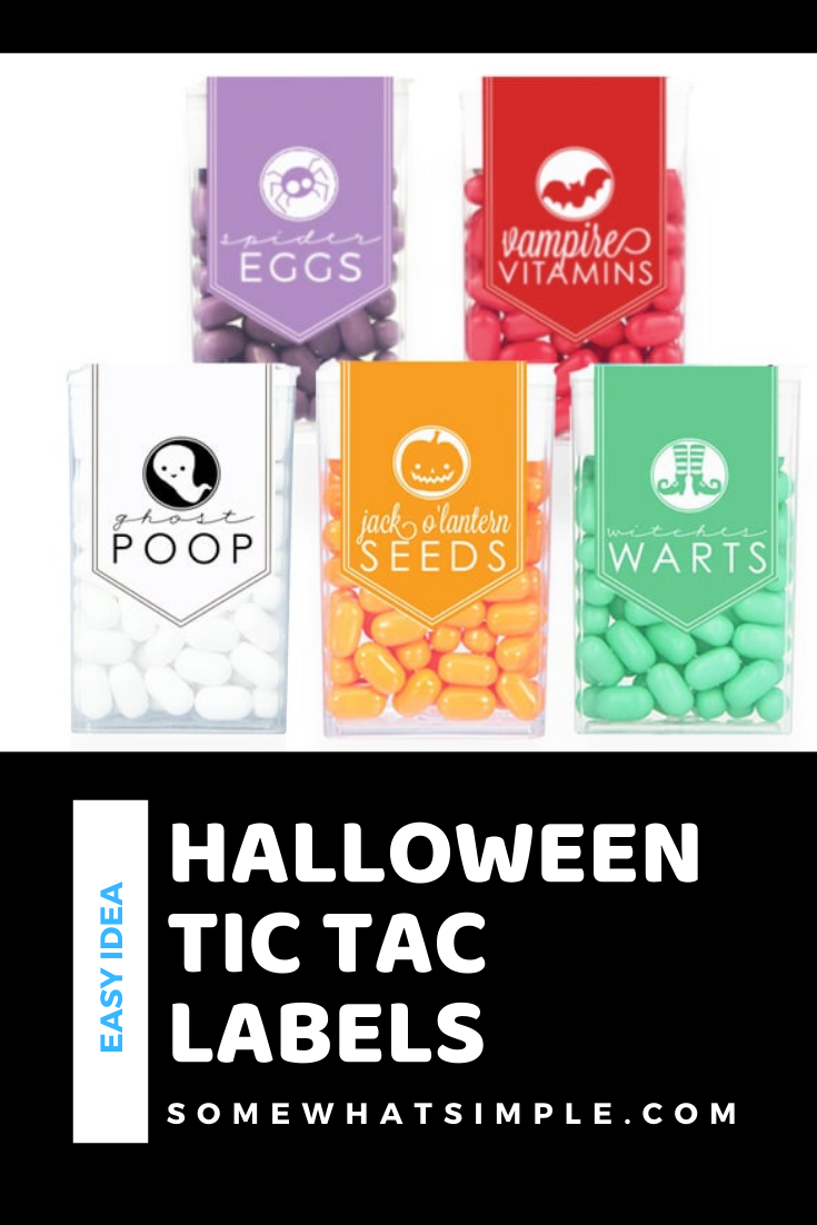 These Tic Tac Halloween Labels are easy, inexpensive and super cute! Perfect for a Halloween party or to give out to the trick or treaters, these labels are the perfect Halloween treat. Simply download the printable and then attach them to your tic tac boxes and you're all ready to go. via @somewhatsimple