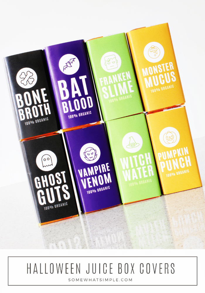 8 different Halloween juice box lables included in this printable