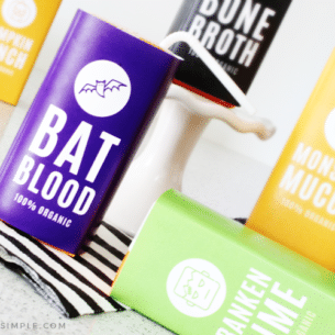 juice boxes covered in Halloween labels from our printable